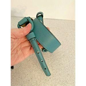 Talbots Blue Green Leather Waist Belt Size XS